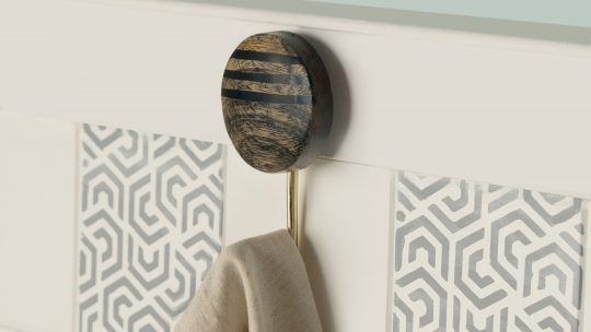 Lines Black Wooden Wall Hook