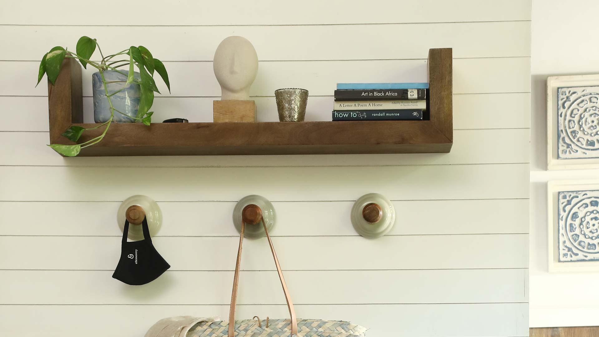 Wall hooks & shelf